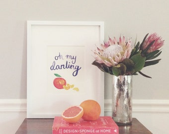 Oh My Darling Clementine Poster // I Love You // Watercolor Calligraphy
