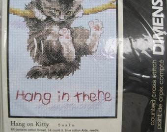 """Cross Stitch Kit - Hang In There - by Dimensions - 5"""" x 7"""" - NEW NIP"""