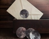 Full Moon Sticker Set - Set of 6 Vinyl 2 Inch Stickers - Lunar Stationary - Bumper Stickers