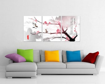 Cherry Blossom Love Birds Flower Tree Chinese Canvas Fiberboard Print Wall Art 3 Panel Set
