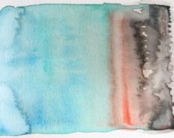 "Abstract Watercolor Landscape-Original-""Blue Fade"""