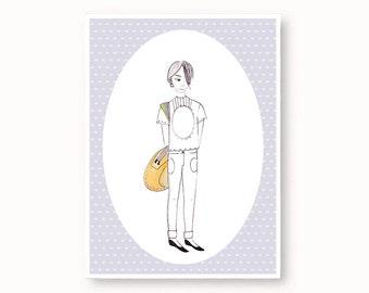 Thinking: A6 art print, postcard, pastel blue, ink art, sad girl