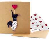 Handmade Valentines Card - Cute Dachshund in Heart Jumper on Recycled Square Cards - Unique Printed Envelopes with Seal - Personalised Card