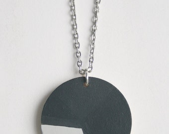 Grey Geometric Painted Wood Necklace, No.1