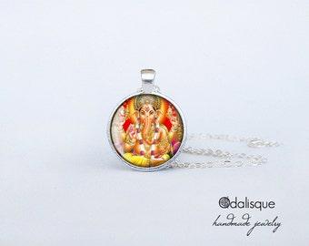 Ganesh Pendant Lord Ganesha Necklace Handmade Keyring Hindu Ganapati Vinayaka God Necklace Indian God Jewelry Birthday Gift Glass Silver