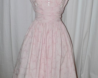 1950s Anne Fogarty Pink Cotton Print Dress with Beading