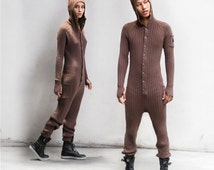 BROWN BEAR SUIT for Adults - One Piece Jumpsuit - Bear Pajamas for Men and Women - Blamo - Long Johns - Fireman's Flap - Christmas Gift