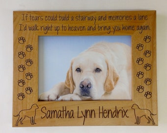 Dog Memorial Picture Frame 5x7 Pet Custom Laser Engraved Frame