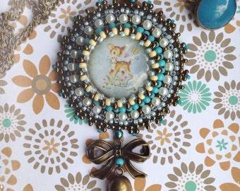 Bead embroidered Vintage deer pendant &FREE Earrings