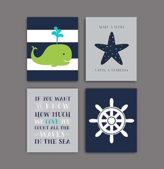 50 off sale nautical nursery whale nursery art print navy for Where can i buy nautical decor