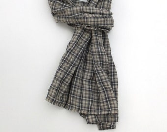 mens plaid scarf - cotton linen - gray white blue - checkered scarf