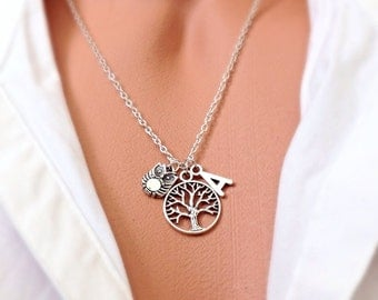 Personalized Tree of Life and Owl Necklace, Owl Jewelry Gift, Cute Owl, Tree Necklace, Tree, Bird, Animal Jewelry, Customized Owl Necklace,