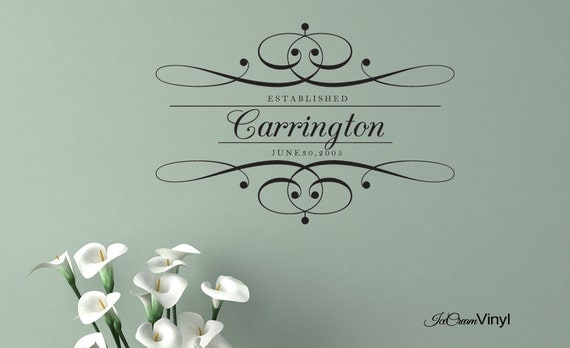 Personalized Elegant Family Name Vinyl Wall Decal Home Decor