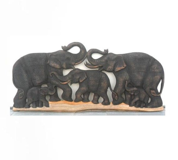 Wood carving of 5 elephant family art hand carved natural teak Elephant home decor items