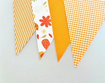 8 DIY bunting paper flags,Orange paper flags,Orange paper bunting birthday nursery home decor flags,Orange wedding paper flags garland