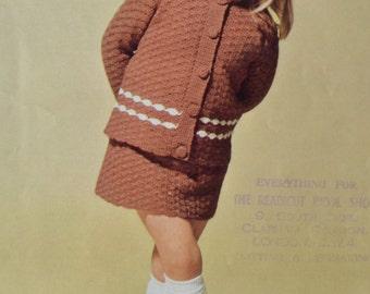 Vintage crochet pattern skirt jacket pdf INSTANT download crochet pattern only pdf 1960s girl's crocheted skirt and jacket