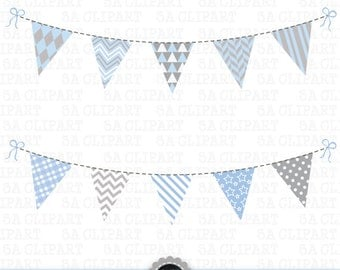 "Bunting Banner Clipart,""BUNTING BANNER ""pack,bunting banner,bunting clip art, flag clip art,flag,light blue and grey Instant Download Bsc006"