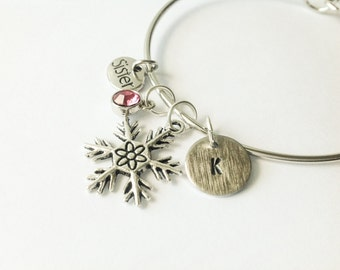 frozen Snowflake bracelet, snowflake jewelry, personalized bracelet - Hand stamped mom bracelet - gift for sister - new mom snowflake  gift