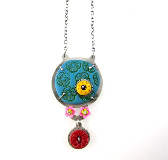 Polymer Clay and Silver Necklace with Vintage Button and Beads