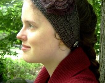 Grey and Purple Hand-Knit Flower Headband