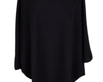Ladies Designer 100% Cashmere Poncho - 'Black' - handmade in Scotland by Love Cashmere