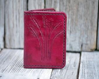 Distressed Genuine Leather Handmade Magenta Bi-Fold (Billfold) Wallet w/ Carving