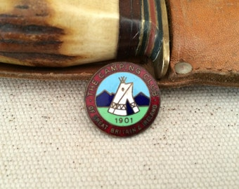 Vintage 1950s Enamel and Brass 'Camping Club' Pin Badge