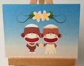 Sock Monkey Hawaiian Wedding Pop-up card