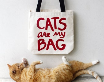 CATS are my BAG Tote, gift for women, cat lover gift for her, canvas tote bag, cat lover gifts crazy cat lady, funny tote bag, gift for teen