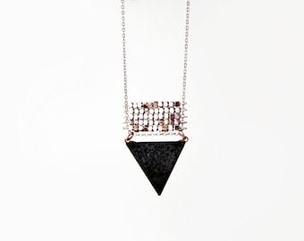 Black Onyx Tria / Minimalist Triangle Necklace