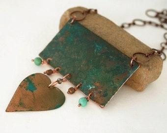 Long boho necklace - statement necklace - verdigris patina - heart pendant - one of a kind