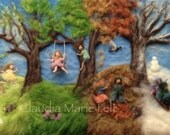Needle Felted Waldorf Photo Print, Four Seasons
