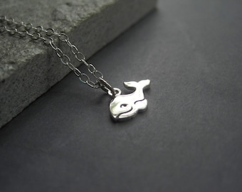 Sterling Silver Whale Necklace -  Whale Necklace - Tiny Sterling Silver Whale Necklace - Sterling Silver Summer Jewelry