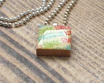 Words Scrabble Necklace, Handmade Scrabble Tile Art Pendant, Wood Tile Pendant, Words Jewelry, Tiny Jewelry, Love Words No.5 SWAK PASSION