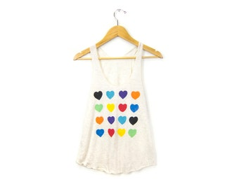 Grid Hearts Tank - Racerback Scoop Neck Swing Tank Top in Heather Cream and Multi Rainbow Heart - Size XS-L Q