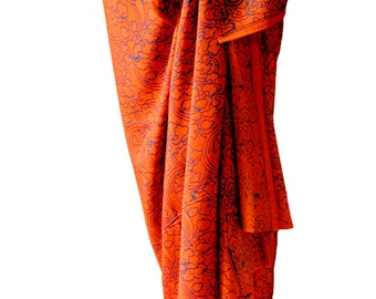 Beach Sarong Women's Clothing - Batik Pareo Long Beach Skirt Sarong Pareo Wrap Skirt - Orange & Blue Beach Sarong Cover Up - Orange Sarong