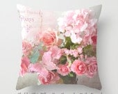 Shabby Chic Pillow Cover, Shabby Chic Paris Floral Roses Throw Pillows, Pink Roses Pillow Home Decor, Pink Paris Floral Decorative Pillows