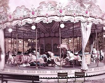 Paris Photography, Carousel Horses, Paris Tuileries, Paris Merry Go Round, Baby Girl Nursery Decor, Paris Merry-Go-Round Carousel Horses Art