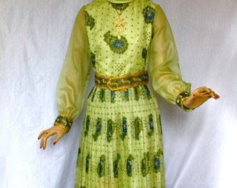 Vintage 70s Alfred Shaheen Maxi Dress Sheer Green Purple Print Long Dress w Wide Belt size 10