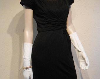 Nuit à Paris - Vintage 1950s Black Rayon Draped Cocktail Wiggle Dress - 4