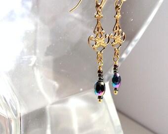 Gold Filigree Earrings, Tiny Earrings, Delicate Gold Jewelry, Baroque Style, Elegant Earrings, Tiny Gold Earrings, Iridescent  Earring