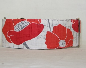 SALE Poppy Flower Martingale Collar - 2 Inch - red gray white cursive writing vintage floral elegant