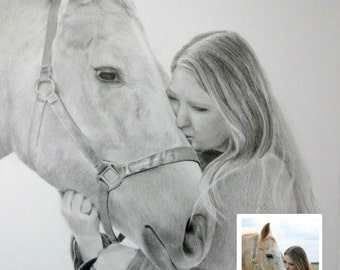 Custom Portrait Drawing From Your Photo - 5x7  Original Personalized Family Pet Pencil Sketch Art From Photograph