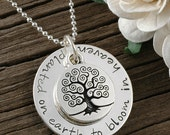 In Remembrance - Planted on earth to bloom in Heaven - Hand stamped Memorial Necklace