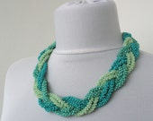 30% OFF SALE - Green statement necklace - crocheted seed beads necklace - braided necklace   E181