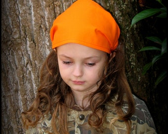 BANDANA-Safety Orange Bandana-has fabric covered elastic back-Great for Camping and Hikes-one size fits girls, teens, adults / Ready To Ship