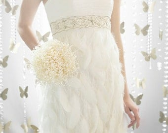 """Bridal Bouquets - """"Bubble"""" Pearl Beads - Wedding Bouquets - Fabulous Brooch Bouquet Alternative with Grooms Boutonniere"""