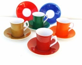 Vintage Demitasse Coffee Cups with Saucers / Retro Colors Small Tea Cups Saucers Set of 4 / Mid Century Mod Colors Red Orange Green Cocoa