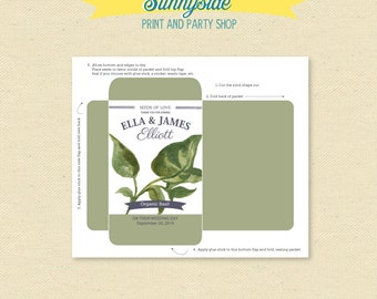 Herb Wedding Favor Packet // Printable DIY Shower Favor // Dill, Sage or Basil // herbs favor
