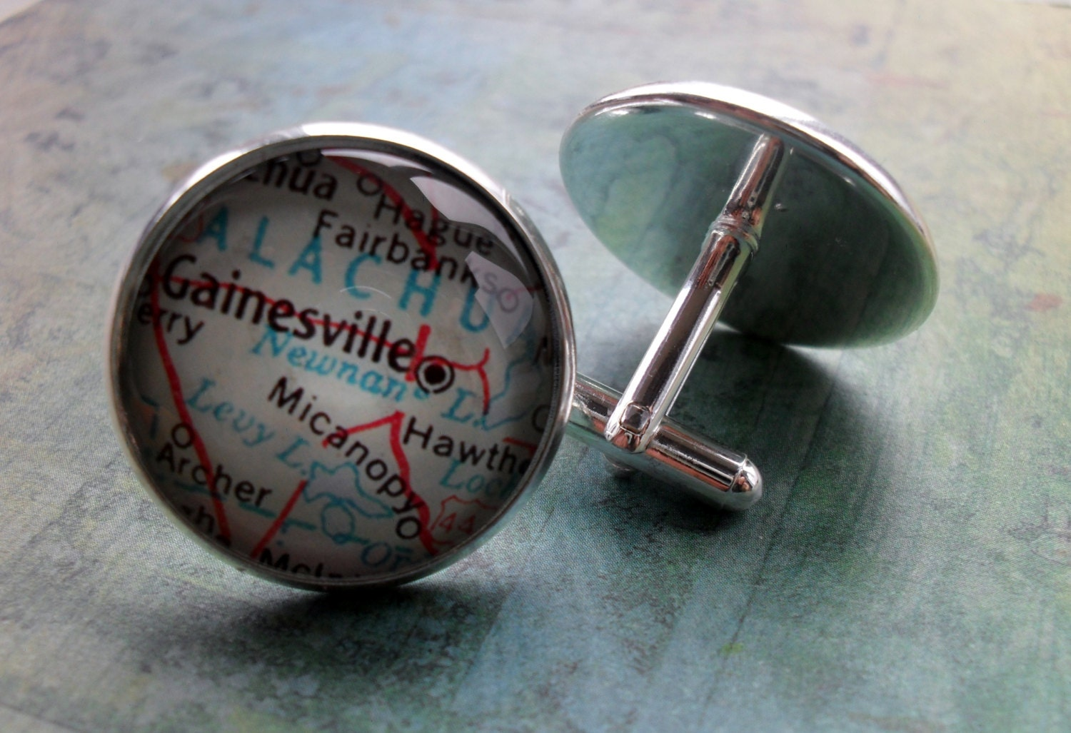 Gainesville florida map silver cufflinks groomsmen gift for Jewelry engraving gainesville fl